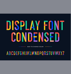 Colorful font condensed alphabet vector