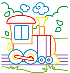 Coloring book of train rides vector