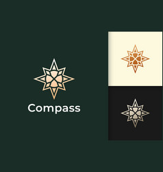 Compass logo in modern and luxury style with gold vector