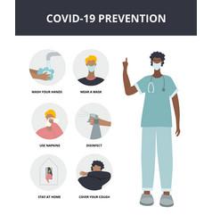 Covid19-19 prevention instruction board vector