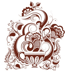 Cup of tea with floral design in mehndi style vector