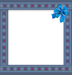 Cute christmas frame with snow flakes pattern on vector