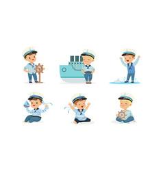 cute little boy character wearing mariner uniform vector image