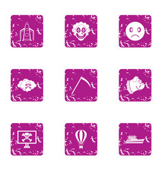 dead religion icons set grunge style vector image