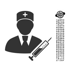 Doctor icon with professional bonus vector