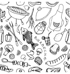 doodle pattern barbecue vector image