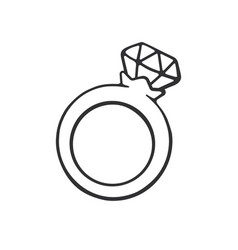 doodle ring with a diamond vector image