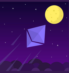 ethereum chrystal rocket launching towards to the vector image