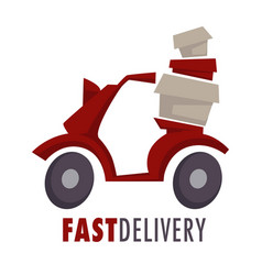 fast delivery isolated icon moped with boxes or vector image