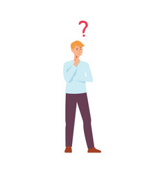 flat young caucasian man thinking icon vector image
