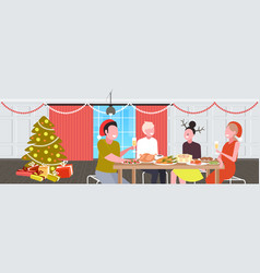 Friends sitting at table having christmas dinner vector