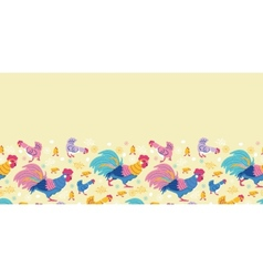 Fun chickens horizontal seamless pattern vector image