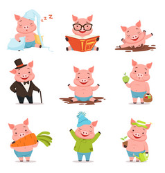 Funny little pigs in different situations set vector