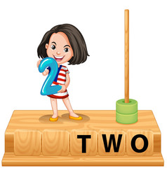 Girl holding number two scene vector