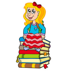 girl sitting on pile of books vector image
