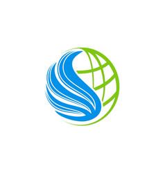 Globe fly wing world logo vector