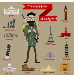 Guy with backpack and travel icons vector