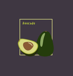 hand drawing avocado with slice on dark vector image
