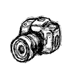 Hand drawn dslr photo camera vector