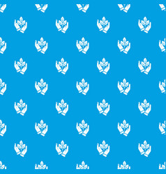 hand sprout pattern seamless blue vector image