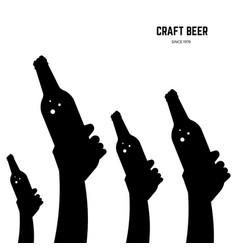 hands with beer bottles black silhouettes vector image