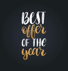 Handwritten phrase of best offer of the vector