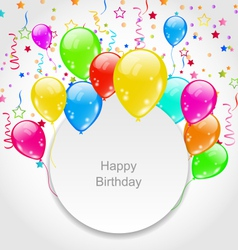 Happy Birthday Card with Set Balloons and Confetti vector image