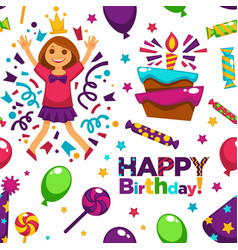happy birthday party with balloons seamless vector image