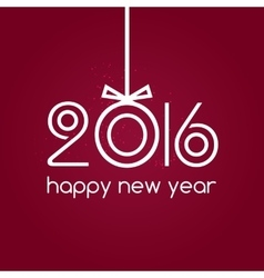 Happy new year 2016 red background typography vector image
