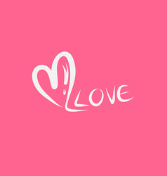 heart and love text valentines day vector image