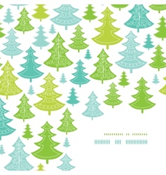 Holiday Christmas trees corner decor pattern vector image