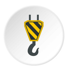 Hook from crane icon circle vector