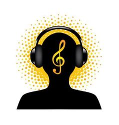 human silhouette with headphones vector image