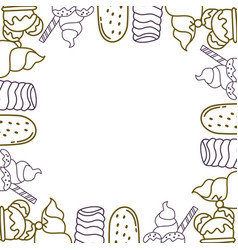 ice cream frame empty template vector image