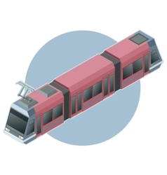 Isometric light train on circle background vector image