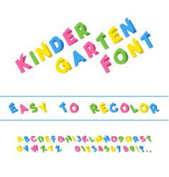 kindergarten font folded paper cut sans serif vector image