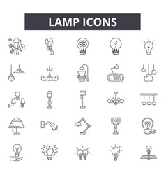 lamp line icons for web and mobile design vector image