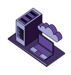 laptop computer server cloud storage data network vector image