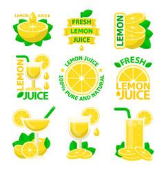 Lemon natural juice badge emblems vector