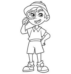 little explorer line art vector image