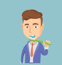 man brushing his teeth vector image