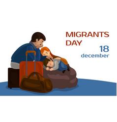 Migrants day concept banner cartoon style vector