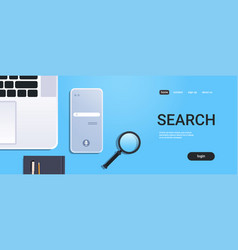 mobile app browsing online search concept top vector image