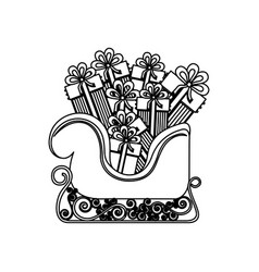 Monochrome contour of sleigh with gifts vector