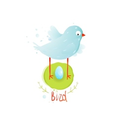 Mother Bird in Nest and Egg vector image vector image