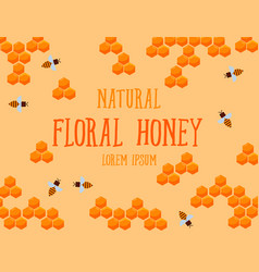 Natural floral honey poster with honeycombs and vector
