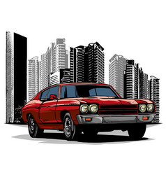 Old racing car with grunge city background vector