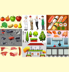 People working in food business and different vector