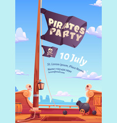 pirate party flyer with wooden ship deck and flag vector image