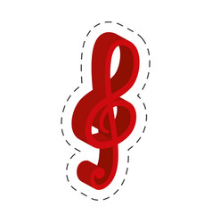 red music note cut line vector image